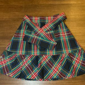 J Crew plaid skirt with ties for a bow!